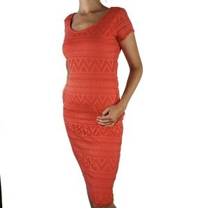 Almost Famous Body Contour Bright Eyelet Dress